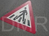 Warning sign- pedestrian walkway